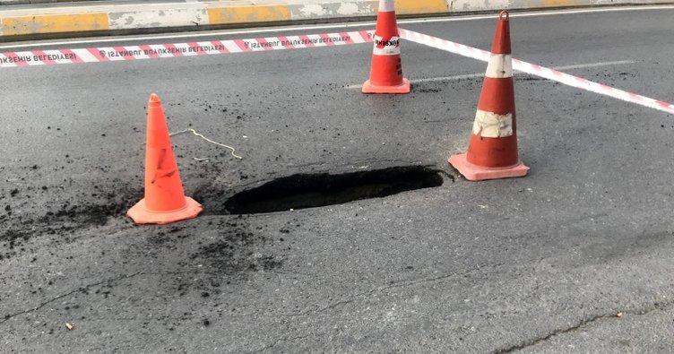 Esenyurt Belediyesi'ne bağlı ekipler çöken yolu onardı…