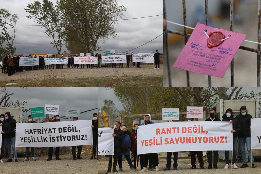 İÇME SUYU HAVZASINA KAÇAK YAPILMAK İSTENEN DEPO ÖNÜNDE PROTESTO EYLEMİ